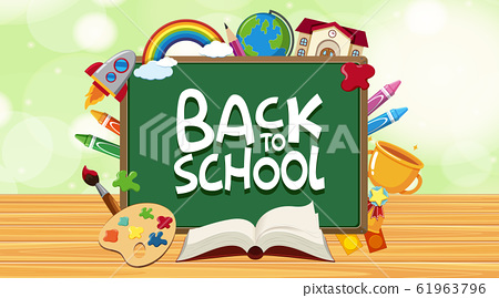 Back to school sign with many school items 61963796