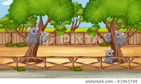 Scene with wild animals in the zoo at day time 61963798