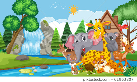 Scene with many wild animals in the park 61963807