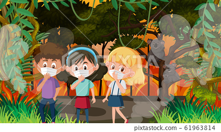 Scene with children and animals in the big 61963814