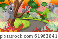 Scene with big wildfire in the forest and many 61963841