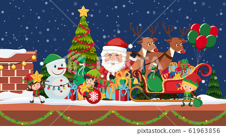 Christmas night with Santa and reindeers 61963856