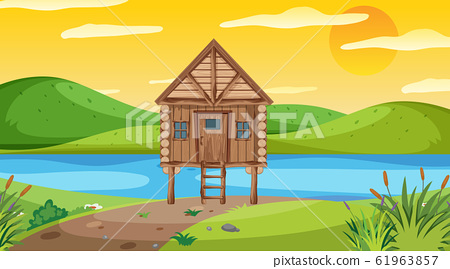 Scene with wooden cottage in the field 61963857