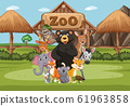 Scene with wild animals in the zoo at day time 61963858