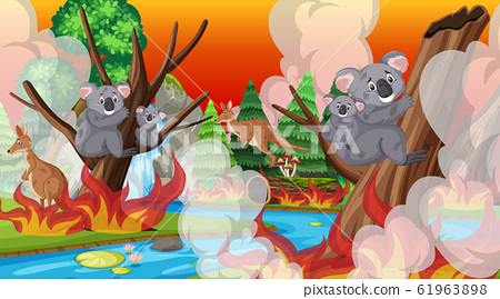 Scene with big wildfire with animal trapped in the 61963898