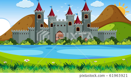 An outdoor scene with castle 61963921