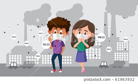 Boy and girl wearing mask in the city with air 61963932