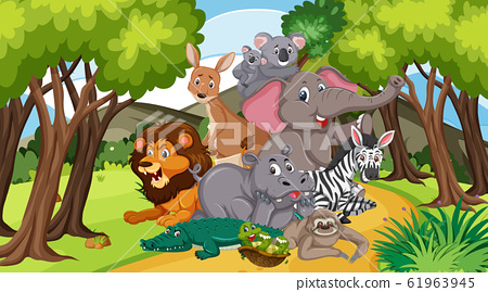 Scene with many wild animals in the park 61963945
