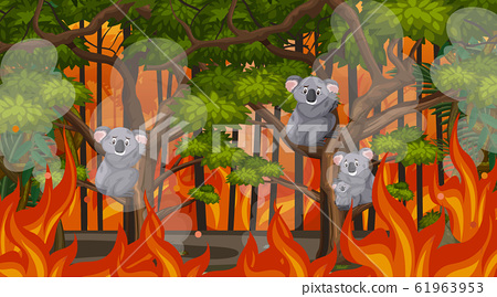 Scene with big wildfire with animal trapped in the 61963953