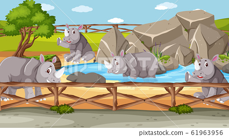 Scene with wild animals in the zoo at day time 61963956