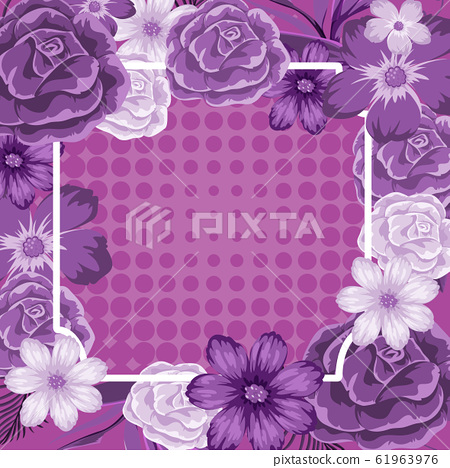 Frame template design with purple flowers 61963976