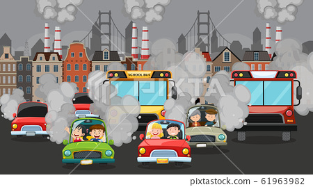 Scene with cars and factory buildings making dirty 61963982