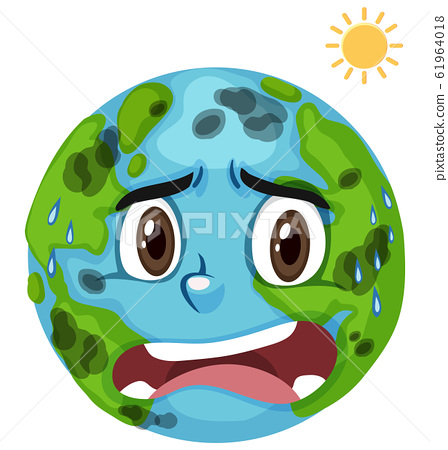 Pollution on earth with hot sun and dirty air 61964018