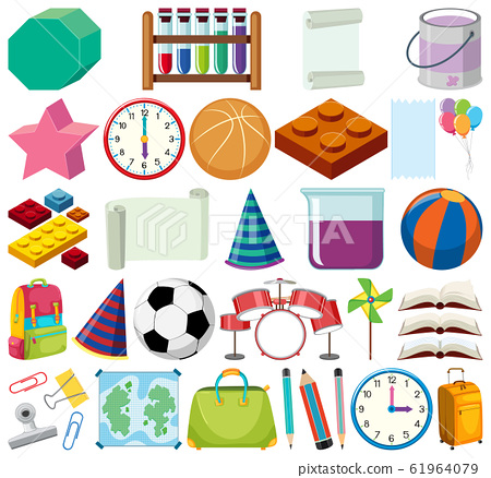 Set of isolated objects theme school items 61964079