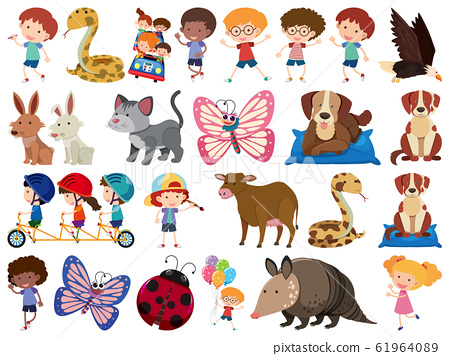Set of isolated objects theme animals and kids 61964089