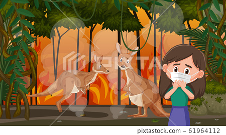 Scene with girl and kangaroos in the big wildfire 61964112