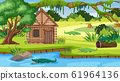 Scene with wooden cottage in the field 61964136