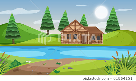 Scene with wooden cottage in the field 61964151