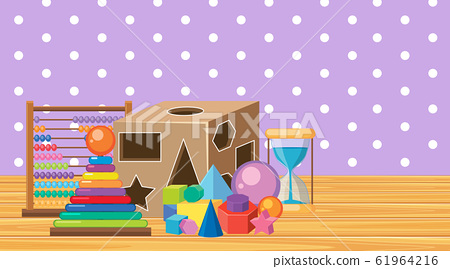 Scene with many toys in the room 61964216