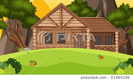 Scene with wooden cottage in the field 61964296