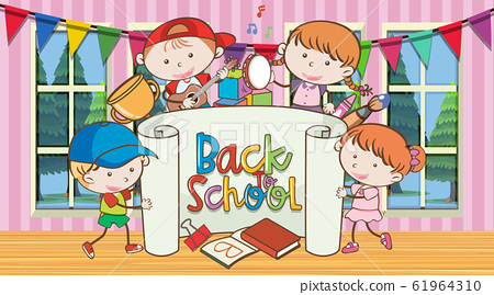Back to school sign with happy childern 61964310