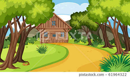 Scene with wooden cottage in the field 61964322