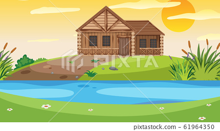 Scene with wooden cottage in the field at sunset 61964350