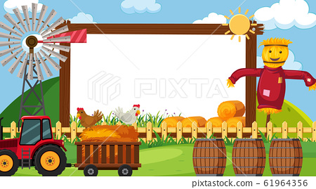 Border template with farm scene in background 61964356