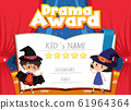Certificate template for drama award with kids on 61964364