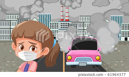 Scene with cars and factory buildings making dirty 61964377
