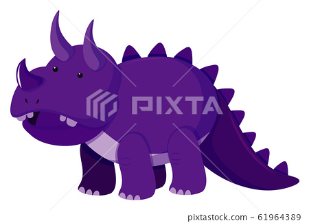 Single picture of triceratops in purple color 61964389
