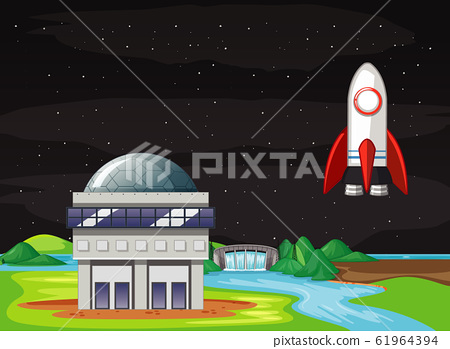 Scene with spaceship flying in the sky 61964394