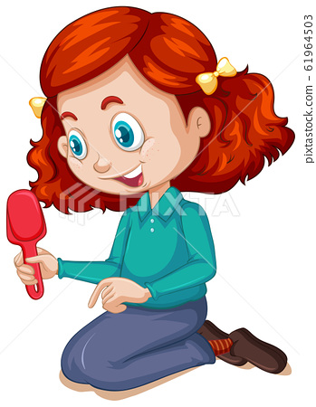 Girl with gardening spoon on white background 61964503