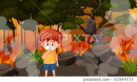 Scene with boy and animals in the big wildfire 61964573