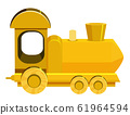 Single picture of yellow train on white background 61964594