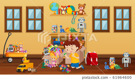 Scene with boy playing in the room 61964600