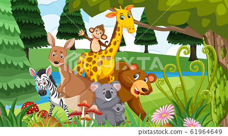 Scene with many wild animals in the forest 61964649