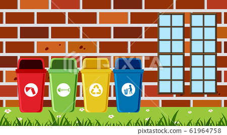 Scene with different types of garbage bins 61964758
