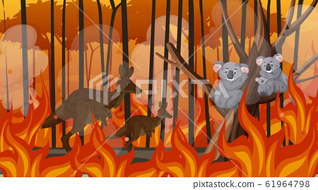 Scene with big wildfire with animal trapped in the 61964798