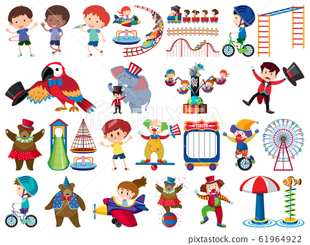 Large set of isolated objects of kids and circus 61964922