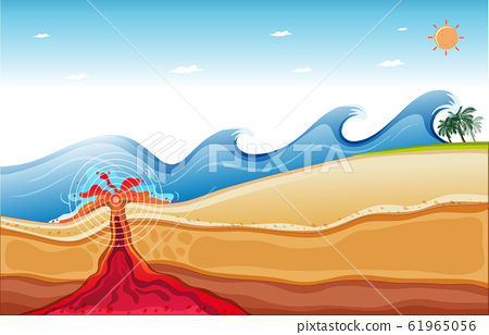 Background scene with big waves and lava under the 61965056