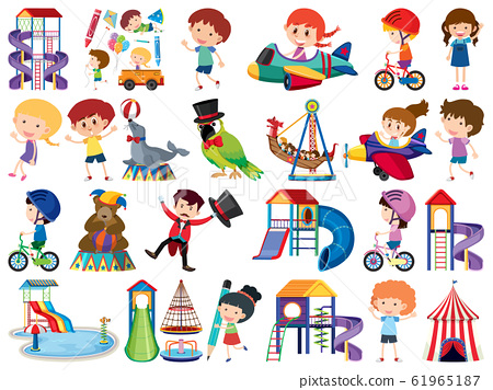 Large set of isolated objects of kids and circus 61965187