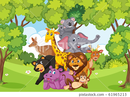 Scene with many wild animals in the forest 61965213