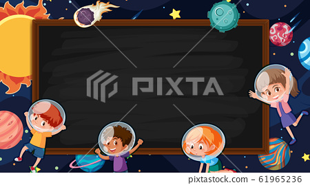 Border template with space theme in background 61965236