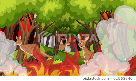 Scene with big wildfire with animal trapped in the 61965240