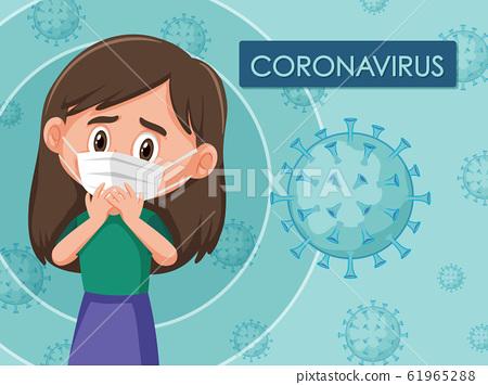 Coronavirus diagram with girl wearing mask 61965288
