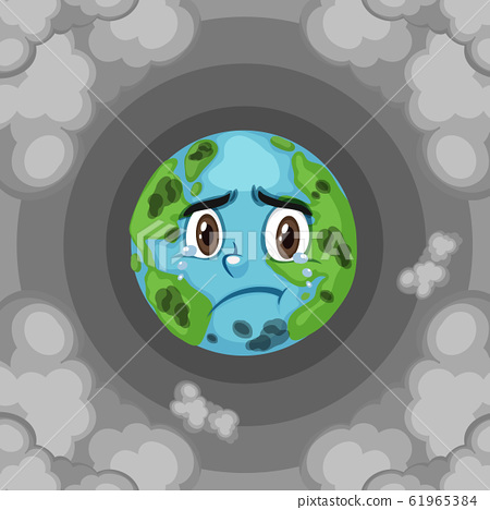 Pollution on earth with dirty smoke background 61965384