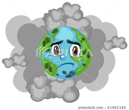 Pollution on earth with dirty smoke in background 61965388