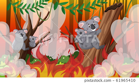 Scene with big wildfire with animal trapped in the 61965410