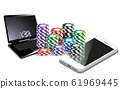 casino chips with notebook and mobile phone on the the white background 61969445